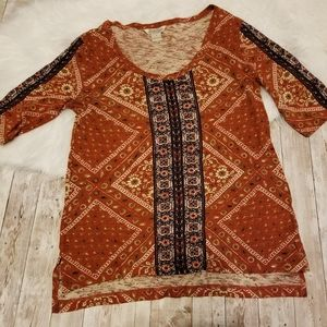 Lucky brand, floral square design, size M